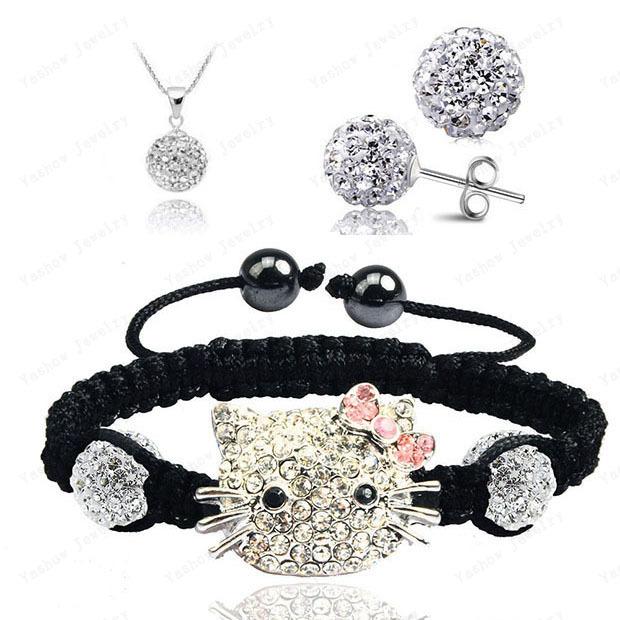Hello Kitty Fashion Shamballa Sets Shamballa Bracelet & Earrings & Pendant Micro Pave CZ Disco Ball Beads Shamballa Jewelry(China (Mainland))