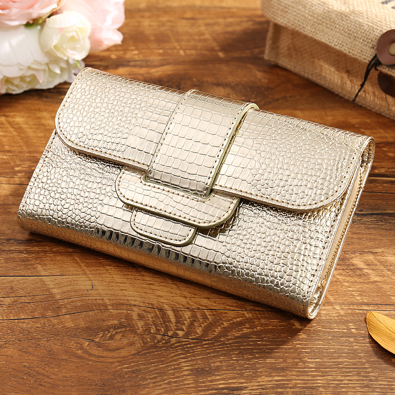 Famous designer alligator grain gold patent cowhide women wallet with strap hasp closure 3fold coin purse clutch money bag bolsa(China (Mainland))