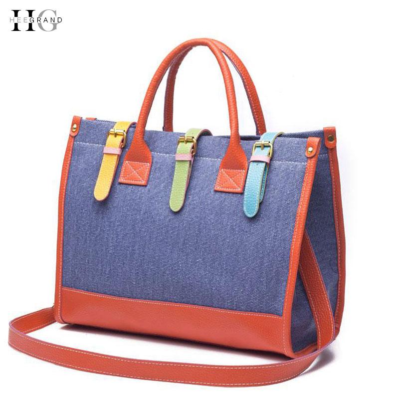 Women Bag 2015 Patchwork Demin Designer Handbags Causal Women Messenger Bags High Quality Shopping Bag Drop Shipping BTF066(China (Mainland))
