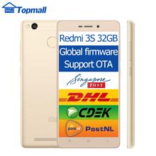 "Original Xiaomi Redmi 3S Pro 3GB RAM 32GB ROM Prime Mobile Phone  4100mAh Fingerprint ID Snapdragon 430 Octa Core 5"" 13MP Camera(China (Mainland))"