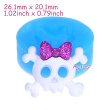 Buy PYL130 Skull Bow Flexible Silicone Push Mold Kawaii Miniat Sweets Polymer Clay Charms Dollhouse (Clay Fimo Resin Epoxy)