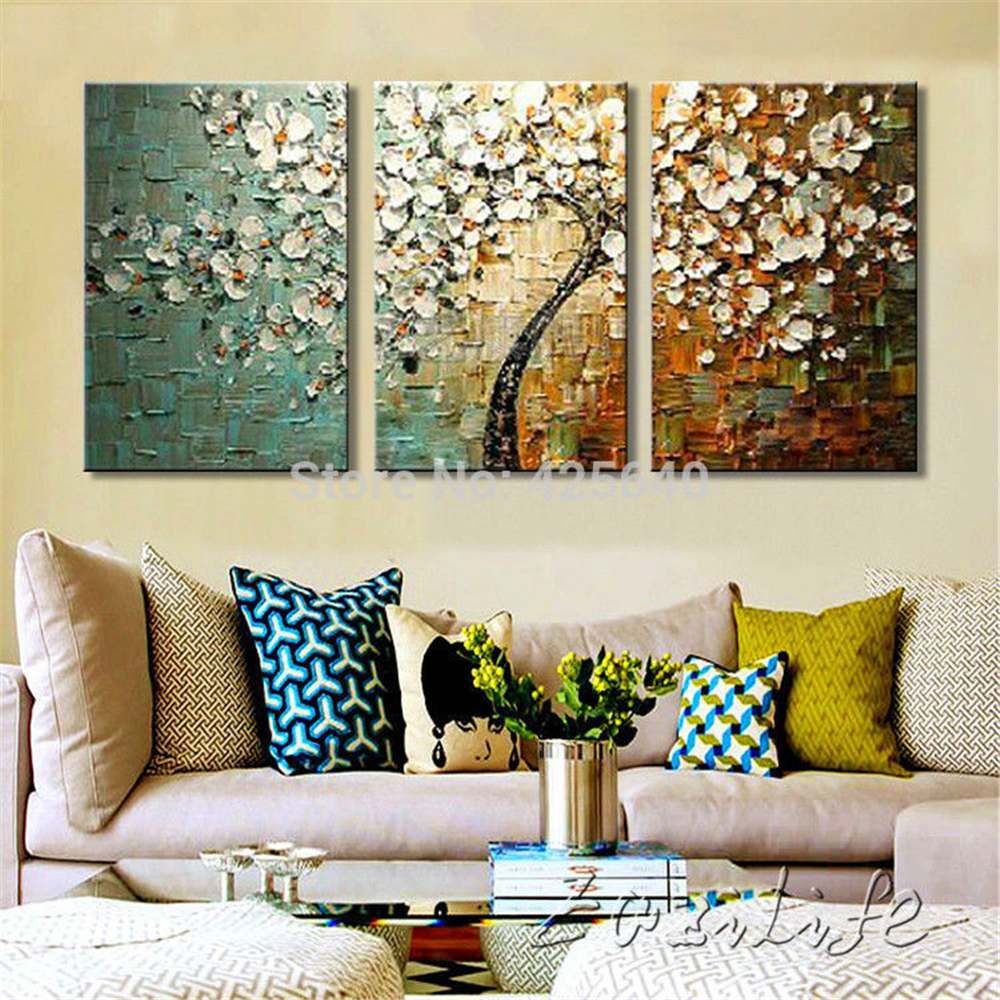 Buy 3 piece hand painted flower tree for Buy canvas wall art