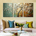 3 Piece Hand Painted Flower Tree cuadros Oil Painting Wall Art Canvas Picture Modern Abstract Home