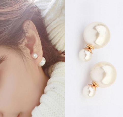 Brief And Generous Double Pearl Ear Studs Big And Amall Females Pearl Jewelry Earring 687KKE(China (Mainland))