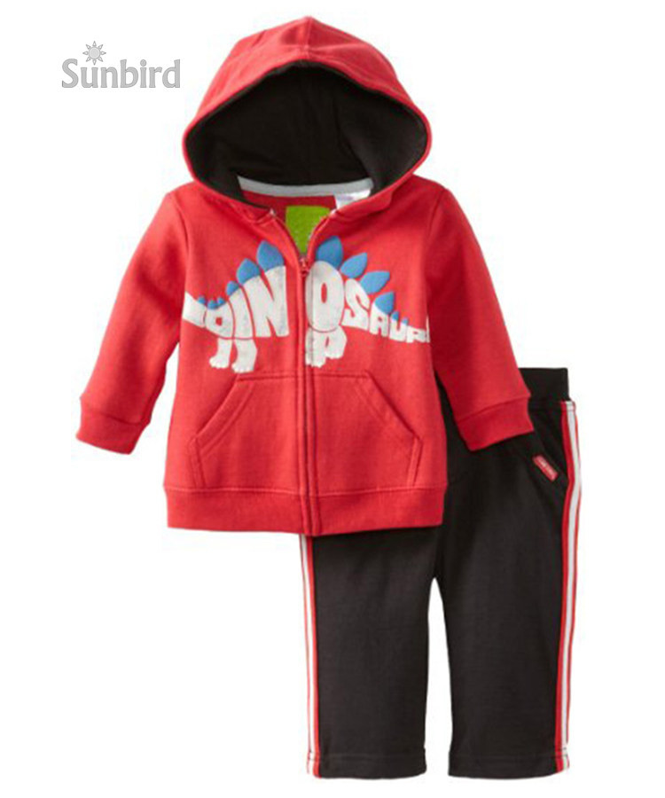 TS-29, dinosaur, 6sets/lot (2T-7T), Baby/Children hoodies Clothing sets, zipper long sleeve sweatshirts sets for 2-7Y<br>