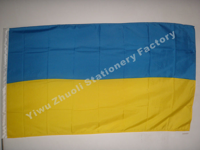 Ukraine Flag 150X90cm (3x5FT) 115g 100D Polyester Double Stitched High Quality Free Shipping Flags And Banners(China (Mainland))