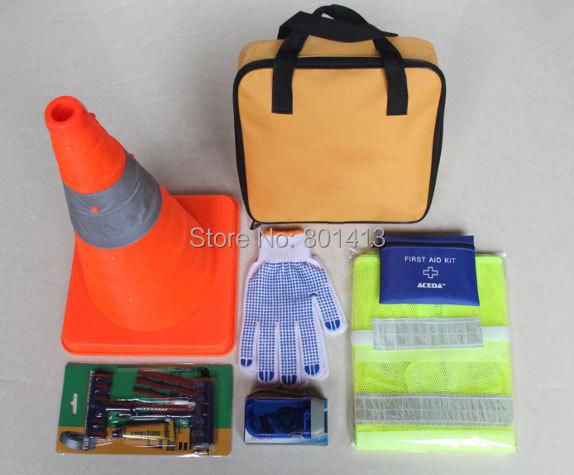 (ACE-309) Medicine bag Adjustable warn cone Tyre repair tool Car Safety Emergency Tool Kit(China (Mainland))