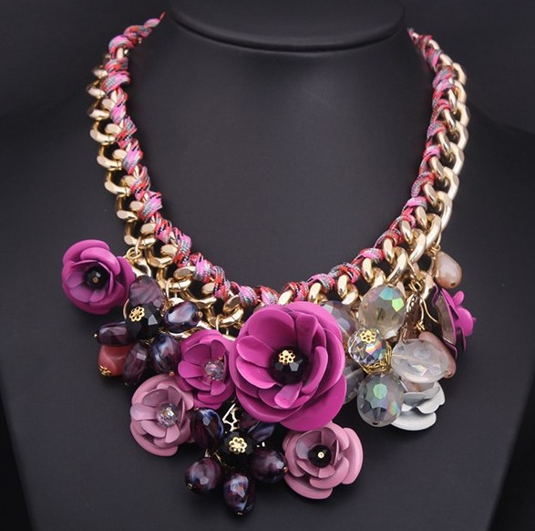 Color flower New Fashion Statement Necklace Crystal Necklaces Vintage Choker Necklace clavicle exaggerated female accessories(China (Mainland))