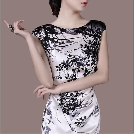The new 2015 high quality plus size silk O-neck black print sleeveless silk dress woman(China (Mainland))