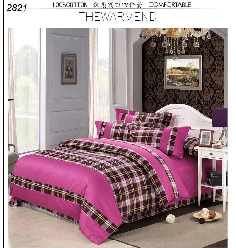 High quality Pink brown white plaids 4pcs bedding set home hotel bedset European bedding duvet cover bedsheet bedclothes2821(China (Mainland))