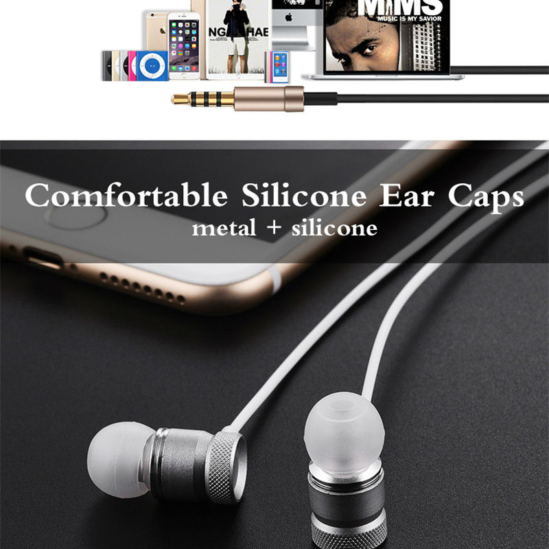 New Metal Headphone Super Earphones Bass Volume Control With Mic Headsets For All Mobile Phone Mp3 PC 3.5mm