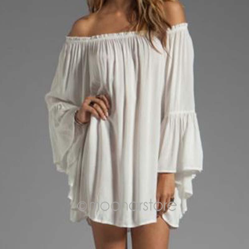 DE/US/UK Stock 2015 New Women Casual Loose Dress Sexy Slash Neck Off the Shoulder Femininas Dress Plus Size LS*E3241(China (Mainland))