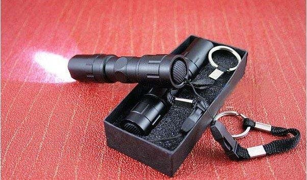 FREE SHIPPING,cheapest 10pc,New 3W 1AA dry battery Aluminium body flashligth mini police led torch light with key ring wholesale