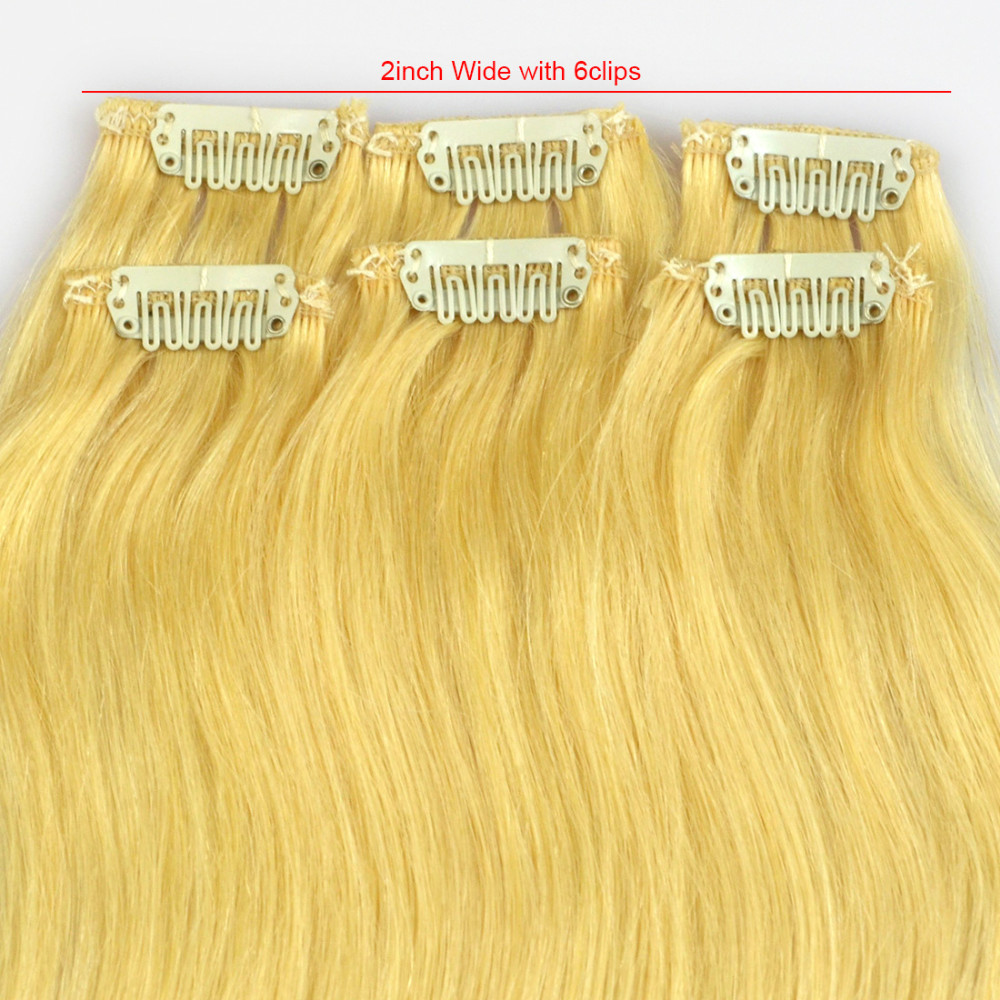 6pcs/set 20″Long 30g(Very Thin) #22 Golden Blonde Clip In Hair 100% Remy Human Hair Extensions With 6 Clips YJ Hair Product