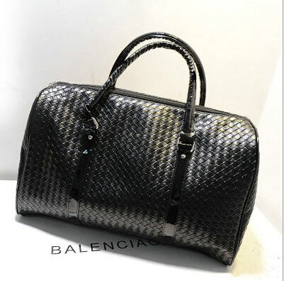 Hot Sale Fashion Woven Leather Men's Travel Bags Black Knit Leather Men Duffel bag Women's Travel Duffle Bag Size 45*30*21 cm(China (Mainland))