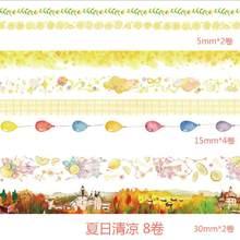 8 unids/lote papel japonés cuento de hadas flor Floral arcoiris planetas enmascarar caída Washi cinta Set papelería pegatinas Scrapbooking(China)