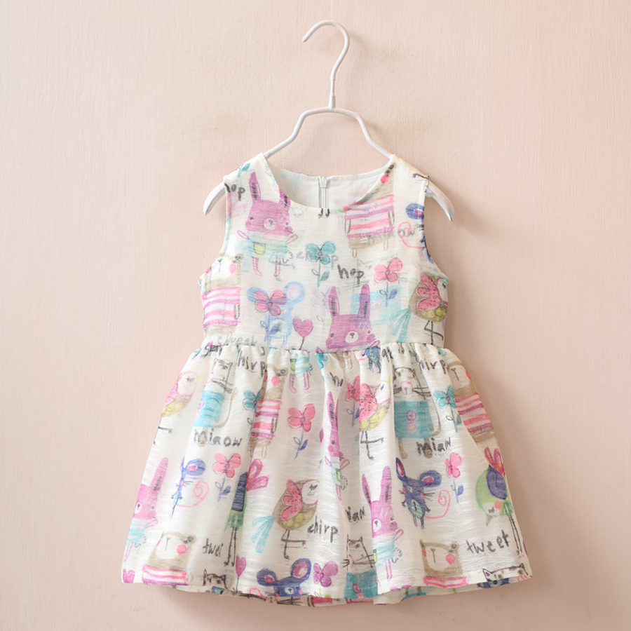 New Animals Cotton Graffiti Girls Dresses Summer Cute Baby Girl Dress Kids Cartoon Graffiti Dresses For Girls Children Clothing(China (Mainland))
