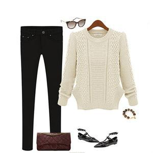 2015 Fashion Long Sleeve Casual Pullovers Women Sweaters Tops Cotton Blend Sweaters For Women 4 Colors