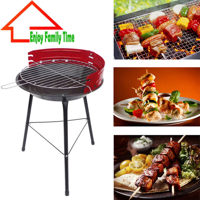 "14"" Round Garden Steel Portable Charcoal BBQ Grill for Barbecue Camping Outdoor Cooking Barbecue Mini BBQ Stove For 3-5 Person(China (Mainland))"