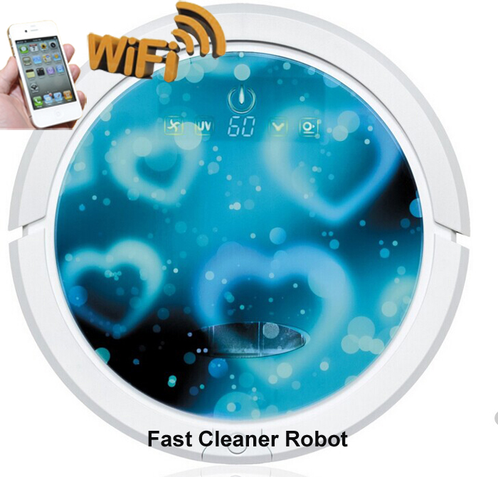 (Free SPSR Shipping to Russia) WIFI Smartphone App Control Mini Vacuum Cleaner Robot QQ6 With Wet and Dry Mop,150ml Water Tank(China (Mainland))