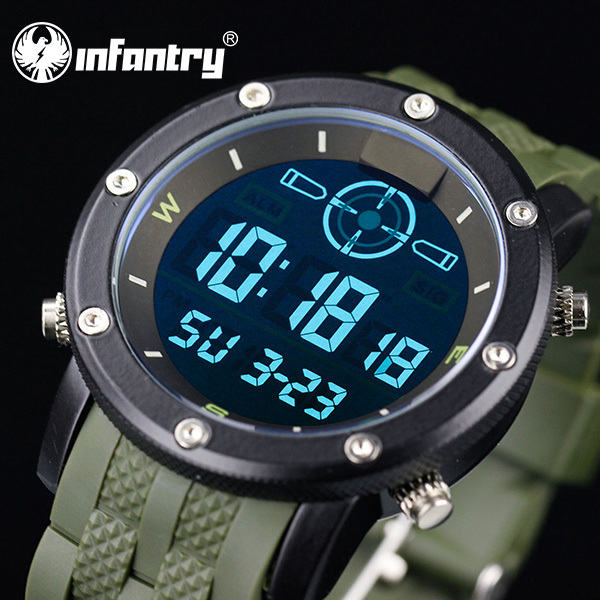 2015 NEW INFANTRY Fashion Men's Army LCD Chronograph Watches Analog Day Date Alarm Digital Wrist Watch Sport Black Rubber Strap(Hong Kong)