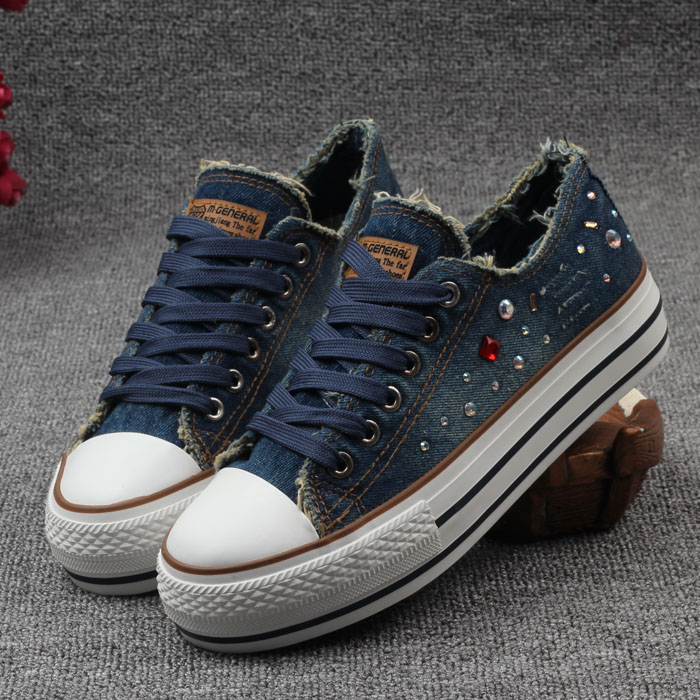 Spring of 2016 new women's casual canvas shoes denim low platform student shoe breathable shoes