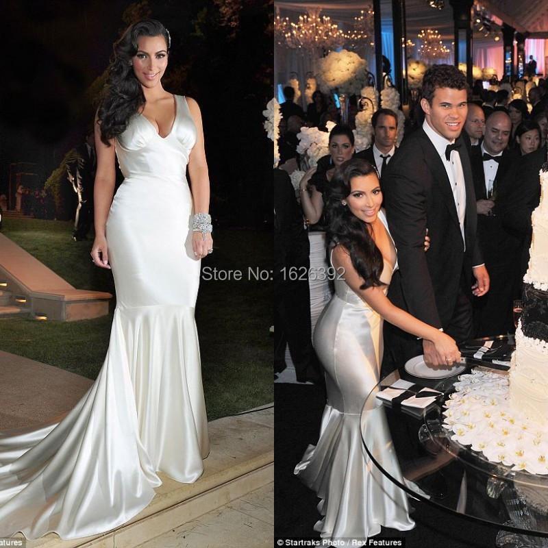Kim Kardashian Mermaid Wedding Gown : Ivory kim kardashian dresses low neckline mermaid dress evening g