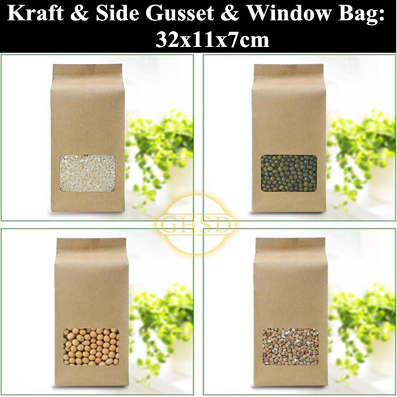50pcs/lot 11 x 32cm (4.3'' * 12.6'') Kraft Paper Packaging Bag,Food Side Gusset Bag with Window,Snack/Coffee Bags(China (Mainland))