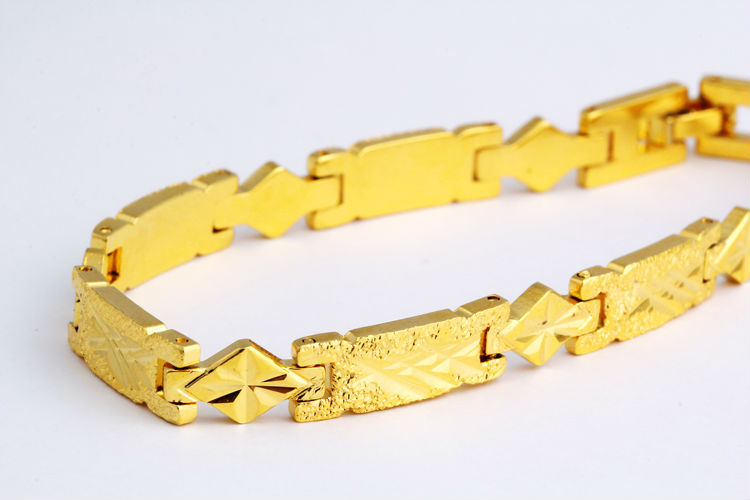 Man's hand chain 8 mm wide frosted Nick bracelet with 24 k gold plated gold bracelet(China (Mainland))