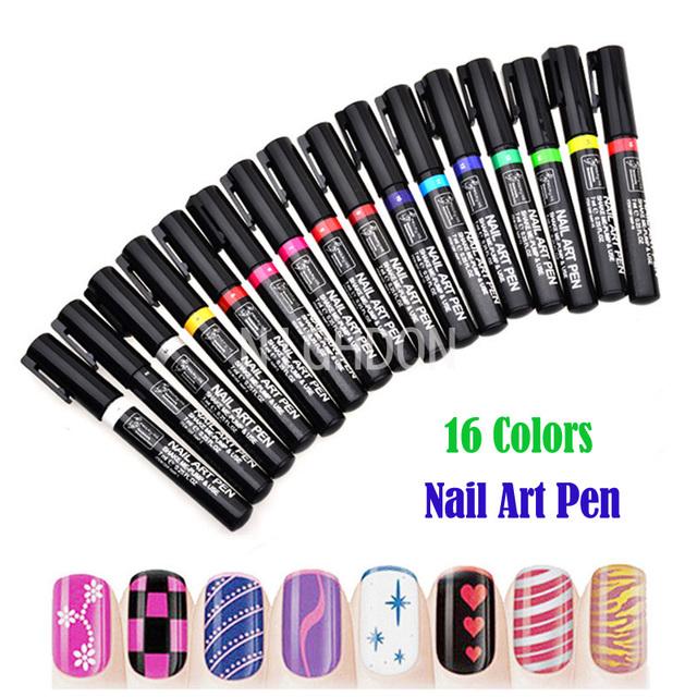 1 шт. ногтей для 16 цветов для ногтей DIY украшения-бесплатная ногти ручки-польски ...
