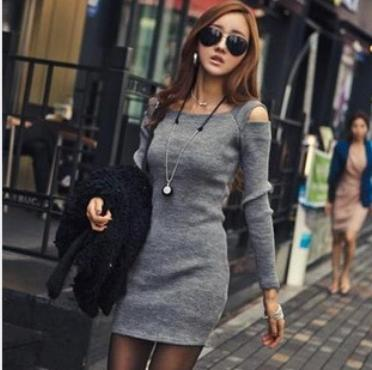 OMH Clothing fashion sexy spring autumn women's Office Long sleeve Dew shoulder Package buttocks above knee Dresses FZ15(China (Mainland))