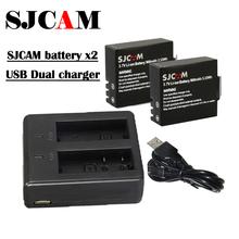 USB Dual bateria Charger +2x original SJ4000 Battery for SJCAM Action camera SJ 4000 WIFI SJ5000 SJ6000 Sj7000 SJ8000 SJ9000 M10(China (Mainland))