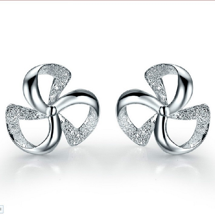 (Min $9 mix orders) Wholesale Jewelry 925 Sterling Silver Crystal Wind Wheel Windmill Shape Ear Stud Earrings Ear Ring ED10(China (Mainland))