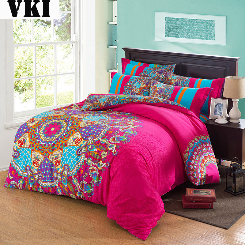 Quilt design cotton material king size set monogrammed - Hot pink and blue bedding ...