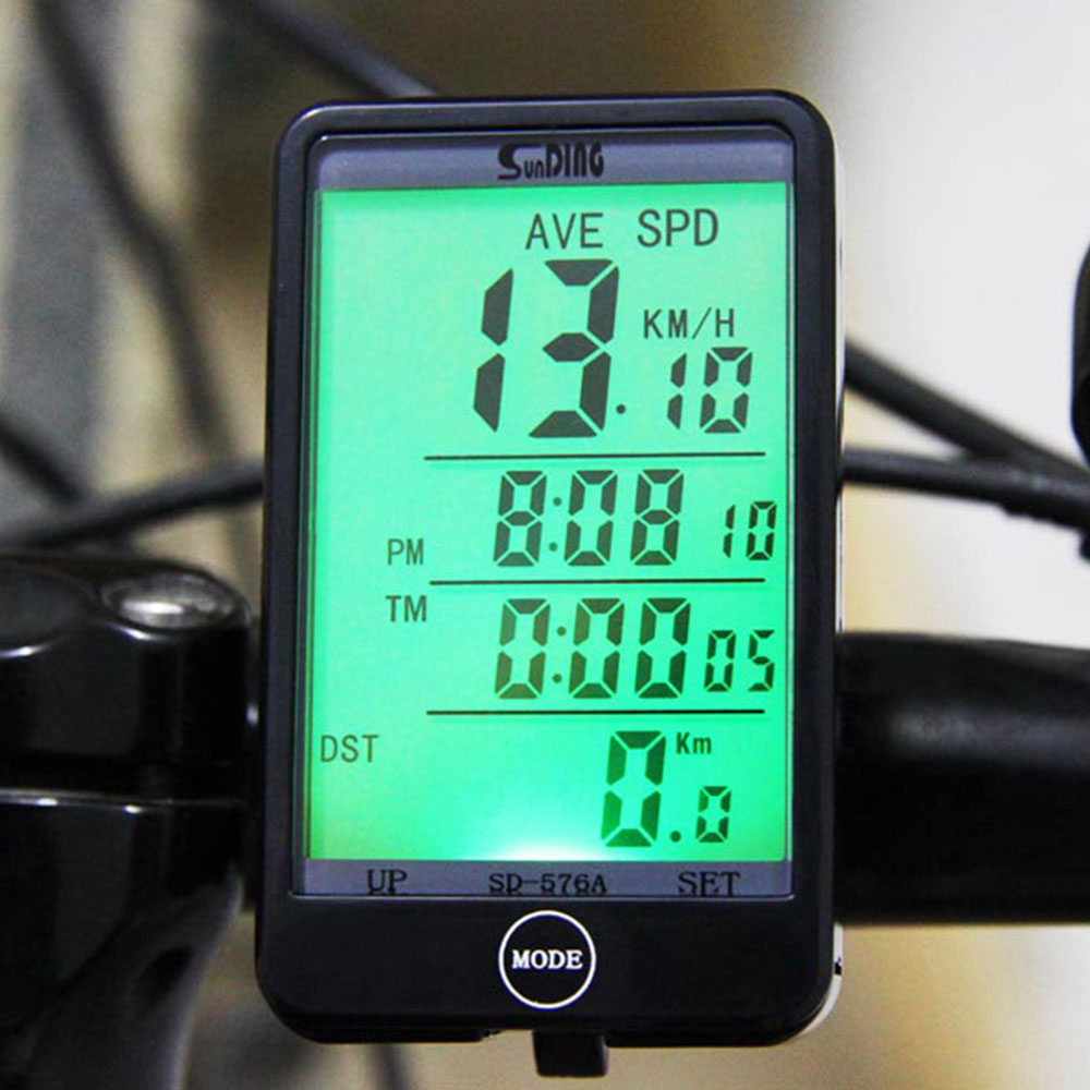 Hot Sale SD - 576A Waterproof Auto Bike Computer Light Mode Touch Wired Bicycle Computer Cycling Speedometer with LCD Backlight(China (Mainland))