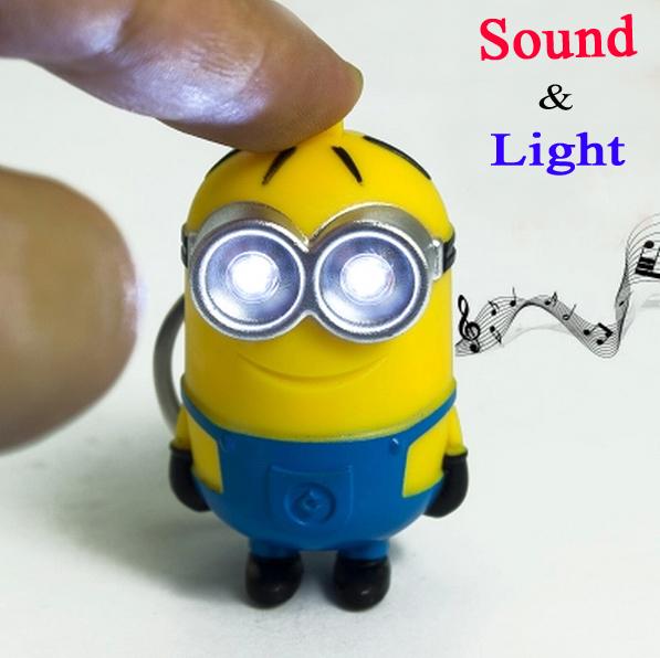 2015 New Minions Toys Cartoon Movie Despicable Me 2 3D Mini LED Keychain talk Minion PVC Action Figure Toys Retail And Wholesale(China (Mainland))