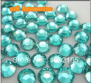 10000pcs/pack SS8 Aquamarine Color Flat back Acrylic Rhinestones Nail Art - Rhinestone houses store