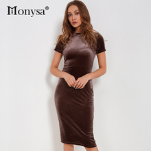 Casual Velvet Dress Women 2017 Autumn New Arrivals Fashion Short Sleeve Pencil Dresses Female Bodycon Knee Length Dress Brown(China)