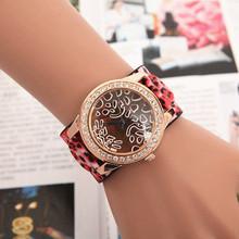 Pop de europa y américa de moda mujeres Sexy Leopard Print ancho de cuero para mujer de la banda de relojes montre femme lujo nueva
