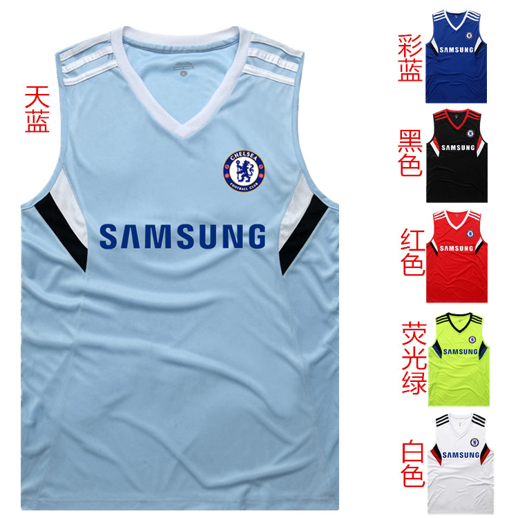 2014 chelsea jersey sleeveless vest chelsea soccer jersey football training suit football jersey(China (Mainland))