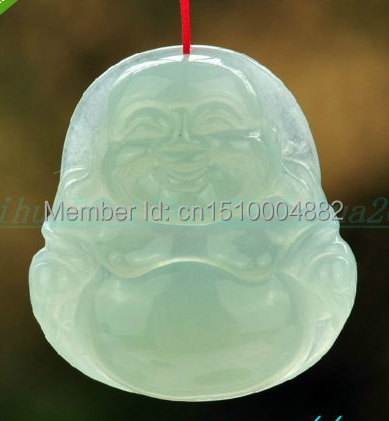 shitou 00697 Natural 100% emerald jade hand-carved god smile Buddha Amulet Pendant necklace <br><br>Aliexpress