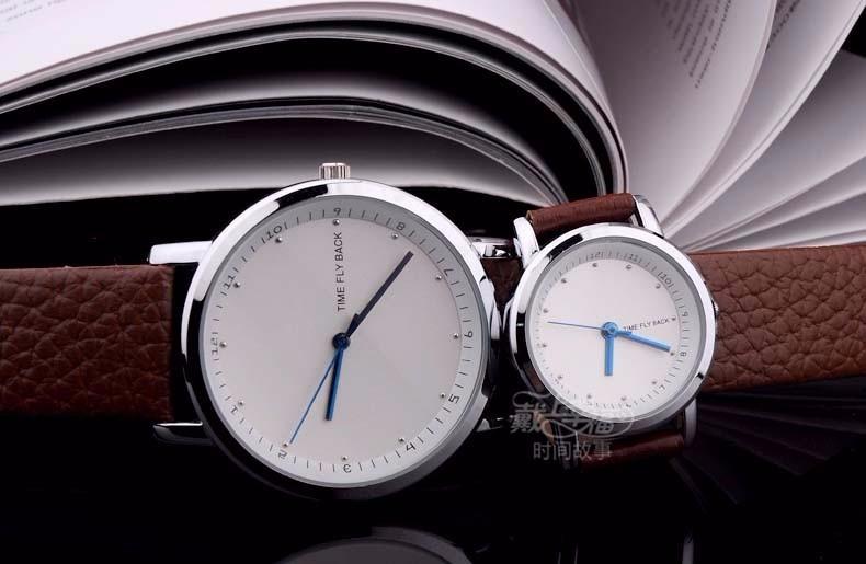 2015 Классический Бренд Мужчин, Одетых Япония Кварцевый Аналоговый Указатель Горный Хрусталь Против Часовой Стрелки Часы Натуральная Кожа Группа Наручные Часы
