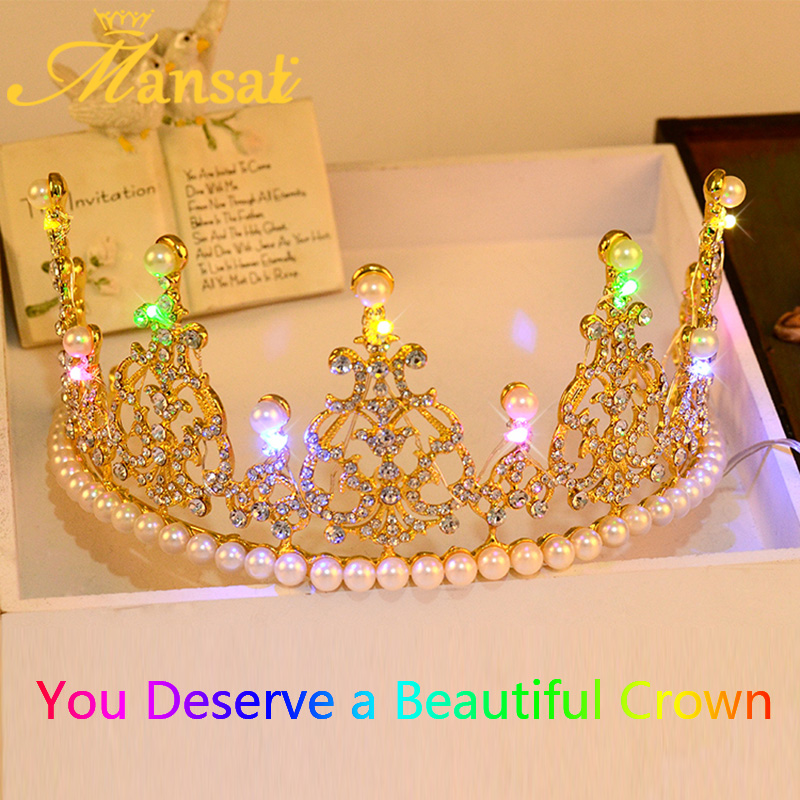 Luxury Women Hair Jewelry Blue Color Light Tiara Crown Romantic Crystal Pearl Tiara Elegant Hairwear Golden Silver Crown HG080(China (Mainland))