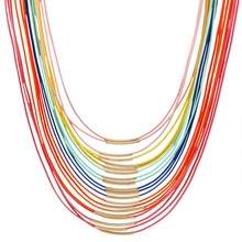 Hot Fashion Women Multicolor Necklace Multilayer Rope Bohemia Statement Long Necklace Jewelry for Women N2797(China (Mainland))