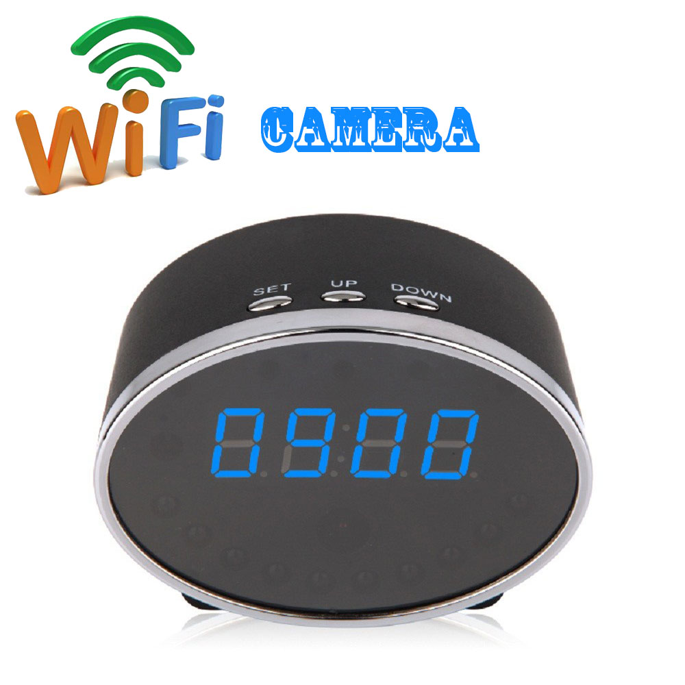 Network Wireless Mini WIFI Camera Alarm Clock 5 million CMOS Megapixel 1080P Video Recorder Camcorder Motion for Mobile Phone(China (Mainland))