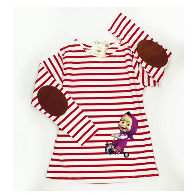 Маша и медведь одежда полный рукав девушки футболки маша полосой дети Roupas Infantis Menino весна осень мультфильм футболки