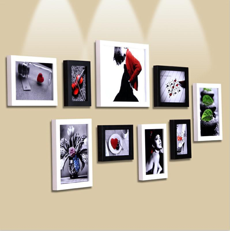 Solid wood wall photos 9 combination photo frame Min order is15$(MIX) - jim yue's store
