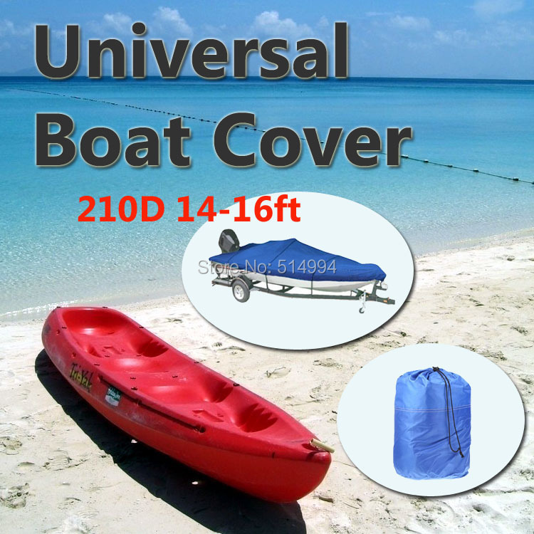 2015 New High Quality 210D Speedboat Camping Fishing Boat Cover 14ft - 16ft Sunproof Fish Waterproof UV Protected - Blue