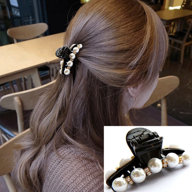 1 Pc Women Girl New Hot 2016 2 Sizes Black Crystal Pearl Rhinestone Hair Clip Claw Hair Accessories Party(China (Mainland))