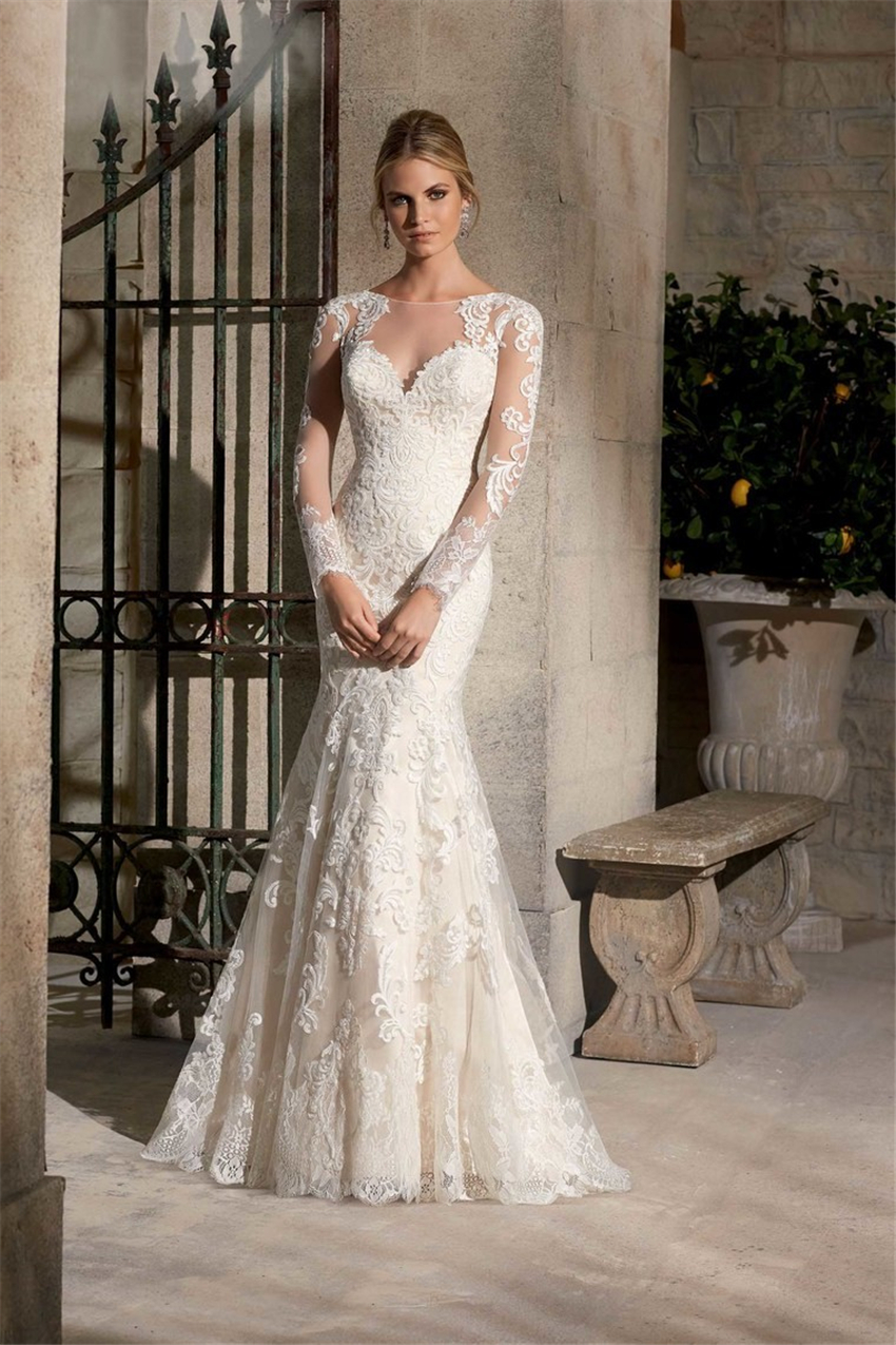 long sleeve wedding dress 2015 vestido de noiva white
